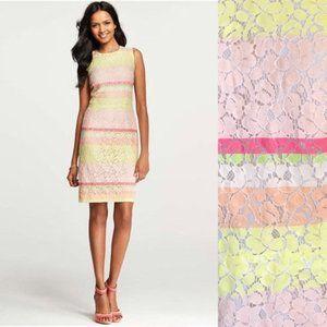 """Ann Taylor Lace """"Horizon"""" Pastel Sheath Dress Sz.6"""